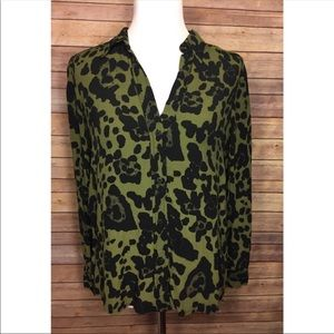 TOPSHOP Green Animal Print Collared Blouse